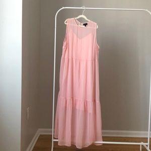 WHO WHAT WEAR Light Pink Chiffon Maxi Dress
